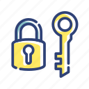 equipment, furniture, key, lock, room, safe, security icon