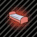 bed, comics, hostel, hotel, mattress, person, pillow