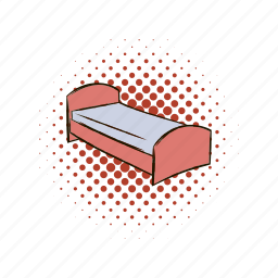 bed, comics, hostel, hotel, mattress, person, pillow icon