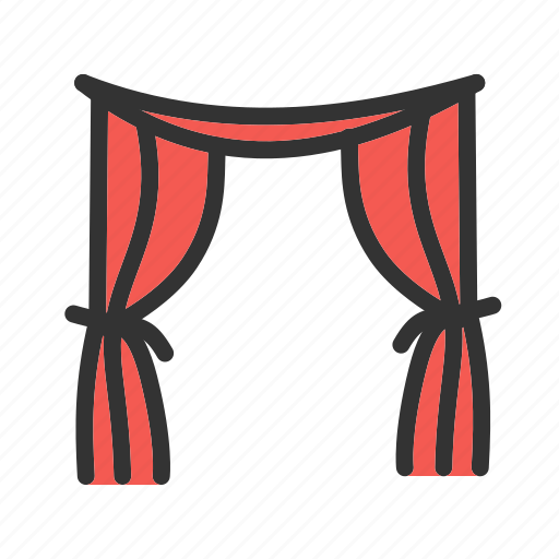 curtain, curtains, fabric, red, stage, texture, theater icon