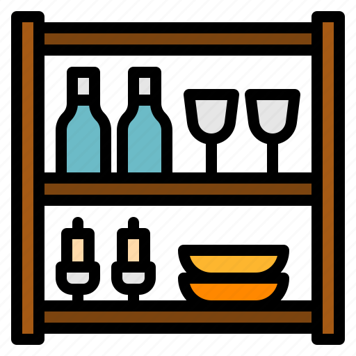 dinning, furniture, house, shelves, storage, wine icon