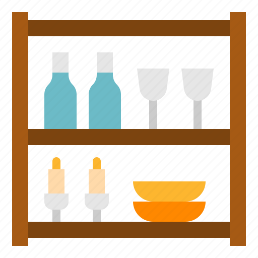 dinning, furniture, house, shelves, storage, wine icon
