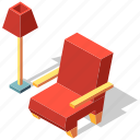 armchair, chair, comfortable, furniture, interior, isometric, seat