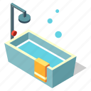 bathing, bathroom, bathtub, interior, isometric, shower icon
