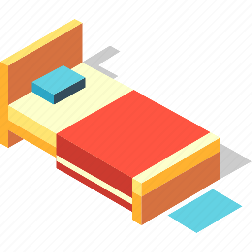 Bed, bedroom, furniture, home, interior, isometric, sleep icon - Download on Iconfinder