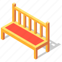 bench, chair, furniture, garden, isometric, seat