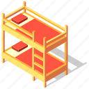 bed, bedroom, bunk, furniture, isometric, sleep