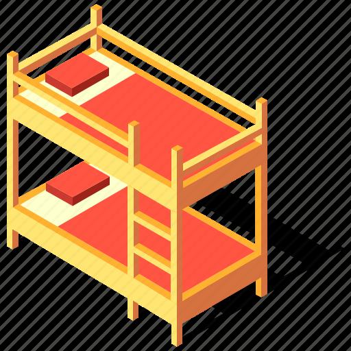 bed, bedroom, bunk, furniture, isometric, sleep icon