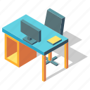 computer, desk, furniture, isometric, office, table, workplace
