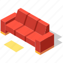 comfortable, couch, cozy, furniture, isometric, sofa
