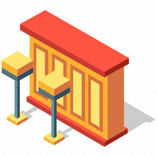 bar, counter, interior, isometric, kitchen, modern icon