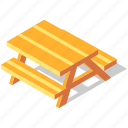 bench, isometric, outdoor, park, picnic, recreation, table