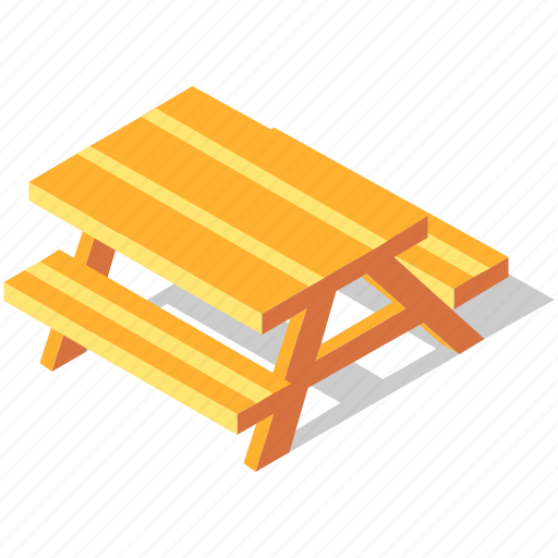 bench, isometric, outdoor, park, picnic, recreation, table icon