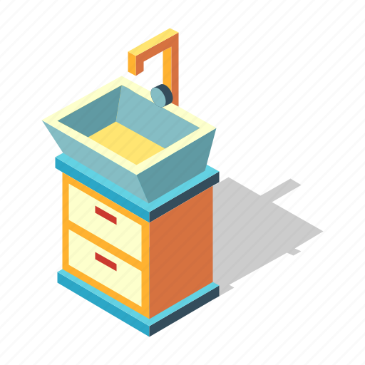 bathroom, bowl, faucet, isometric, sink, washbasin, washstand icon