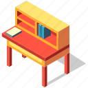 book, desk, furniture, interior, isometric, table, writing