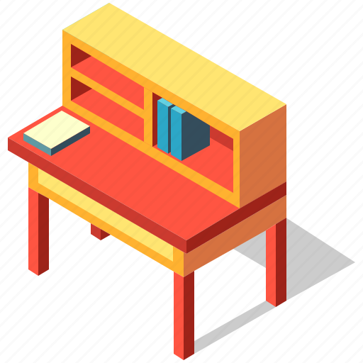Book, desk, furniture, interior, isometric, table, writing icon - Download on Iconfinder