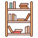 book, bookcase, bookshelf, furniture, library, shelf, shelves icon