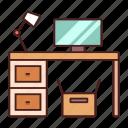 computer, desk, desktop, furniture, home, table, workspace icon