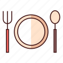 dining, dinner, dish, fork, plate, restaurant, spoon icon