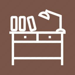 book, desk, lamp, library, school, study, table icon