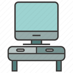 desktop, electronic, furniture, screen, television, tv icon