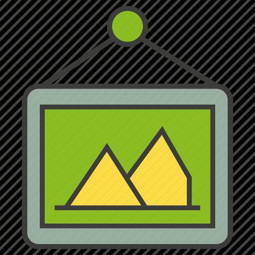 decor, frame, hang, home decor, picture frame icon
