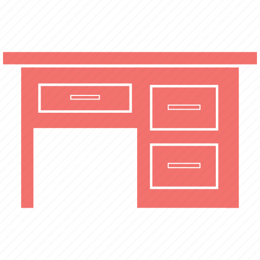 books, computer, drawer, furniture, household, study, tabel icon