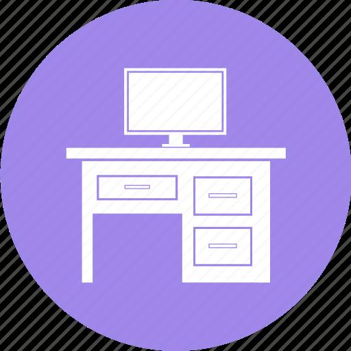 computer, furniture, interior, table icon