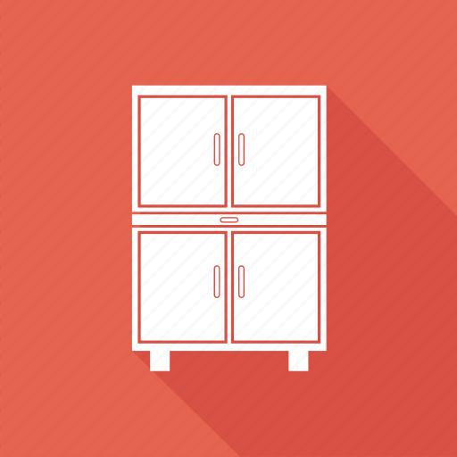 almirah, book, book shelf, draw, reading, reading table icon