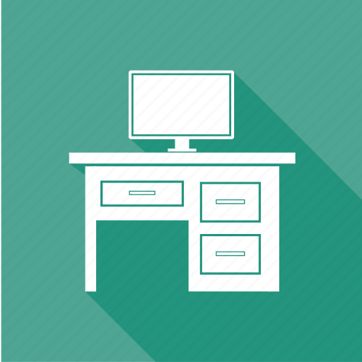 computer table, furniture, stand, table, tv icon