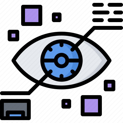 eye, future, information, lens, science, technology icon