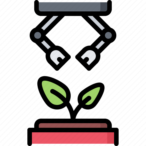 future, growing, plant, robot, science, technology icon
