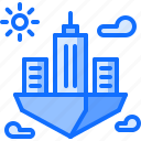 city, flying, future, science, sun, technology icon