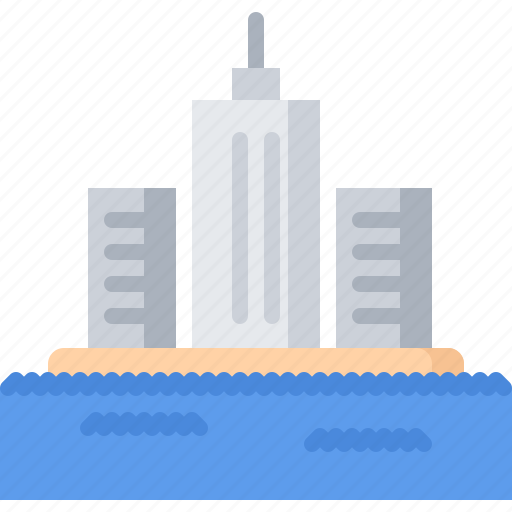 city, future, house, island, science, technology, water icon