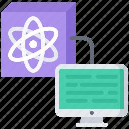 atom, computer, future, quantum, science, technology icon