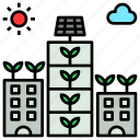 agriculture, city, farm, future, vertical icon