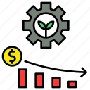 cost, agriculture, production, save, lower icon