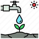agriculture, irrigation, save, stress, water icon