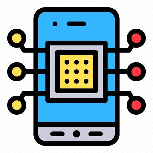 chip, computer, mobile, phone, technology icon