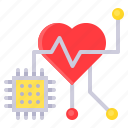 artificial intelligence, gadget, heart, medical, technology icon