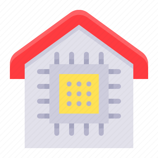 artificial intelligence, chipl, gadget, house, technology icon