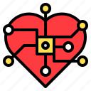 central, chip, computer, heart, technology icon
