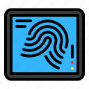 device, fingerprint, scan, screen, technology icon