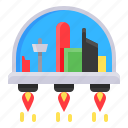 building, city, high tech, space, technology, town icon