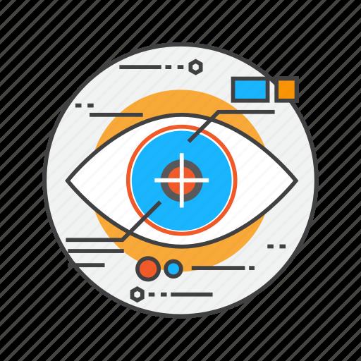 eye-tracking, eyetap, reality, robot, scan, scanning, science icon