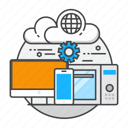 internet-of-things, laptop, network, office, web icon