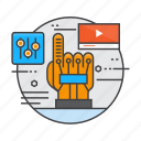 gloves, interactive, personal, tracking, virtual, wired, wired glove icon
