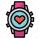 exercise, heart, rate, sport, watch icon