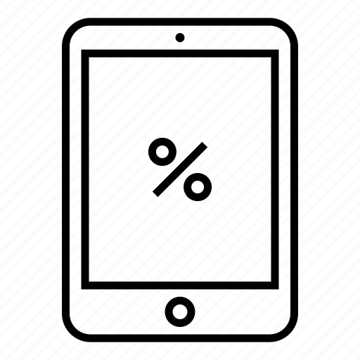 device, outline, pad, percentage, sale, shopping, tablet icon
