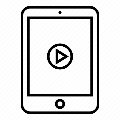 device, film, outline, pad, play, tablet, video icon